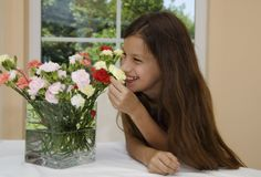 Flower and girl Stock Images