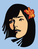 Flower Girl. Vector illustration of a beautiful girl with an orchid in her hair Stock Image