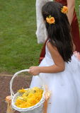 Flower girl. A flower girl in an outdoor wedding Stock Image