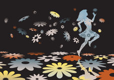 Flower girl. Editable  silhouette of a carefree girl skipping across colorful flowers Stock Photography