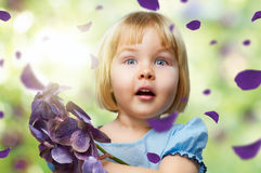 Flower girl. Beauty flower girl on the blurry background stock photo