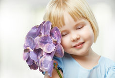 Flower girl. Beauty flower girl on the blurry background royalty free stock photo