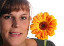 Flower Girl. A young woman with a beautiful flower Stock Images