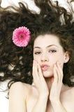 Flower girl. Beauty flower girl on the white background stock photos