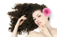 Flower girl. Beauty flower girl on the white background stock image