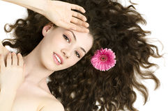 Flower girl. Beauty flower girl on the white background royalty free stock images