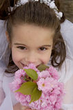 Flower Girl. Portrait of flower girl smelling pink flowers Stock Photos