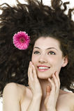 Flower girl. Beauty flower girl on the white background royalty free stock image