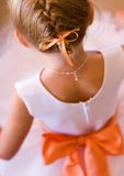Flower Girl. Back of Flower Girl at a Wedding Stock Images