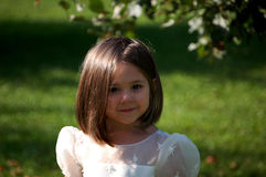 Flower Girl Close Up. Close up of a four year old girl in a flower girl dress Royalty Free Stock Photos