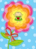 Flower girl with heart. Illustration Stock Image