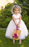 Flower Girl With Pink Petals. A smiling blue-eyed blond hair flower girl wearing a white dress at a wedding holds a basket with pink flower petals royalty free stock photography