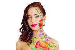 Flower-girl. Studio portrait of a girl with flower body-art Stock Photo