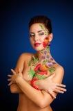 Flower-girl. Studio portrait of girl with body art Royalty Free Stock Photography