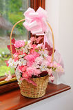 Flower girls basket. Flower girls basket of pink and white flowers Royalty Free Stock Photography