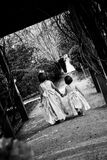 Flower Girls Exit. Two flower girls making their exit behind the bride and groom Stock Photos