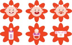 Flower Girls Icons Vector Set Stock Photo