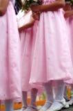 Flower girls in soft focus. Flower girls in pink dress in dreamy royalty free stock photo