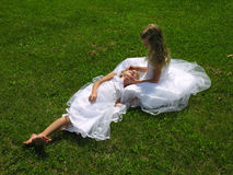 Flower girls taking a break Stock Photos