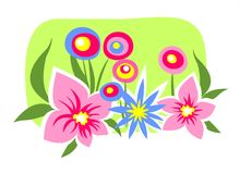 Flower glade. Multi-colored flowers on a green background Stock Image