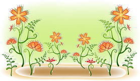 Flower glade. Many orange beautiful Flower on green background Royalty Free Stock Photo