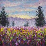 Flower glade field of purple flowers landscape. Sunrise. Foggy forest in background. 2 flying birds. Morning rural landscape paint. Ing with acrylic. Floral Stock Photography