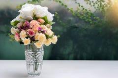 flower in glass vase on white table Stock Image