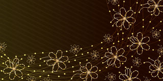 Flower gold line banner Royalty Free Stock Photography