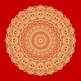 Flower Gold Mandala. Vintage decorative elements. Oriental pattern, vector illustration. Indian ornament. Isolated on a. Red background. Super vector part 11 stock illustration