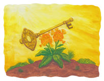 Flower and Golden Key (2004) Royalty Free Stock Images