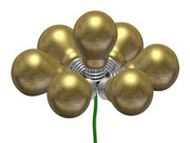 Flower of golden light bulbs on green wire Stock Images