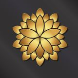 Gold Mandala Lotus . Vector logo Royalty Free Stock Images