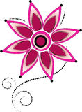Flower. Graphic flower with decorative elements. vector illustration Stock Images