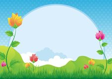 Flower and Grass Background. Flower, Grass and mountain Background, cute, lovely design, suitable for kid diploma, certificate or other vector illustration