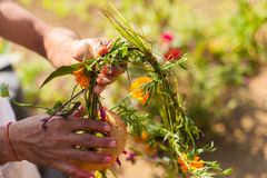Flower and grass garlands for Tihar in Nepal Royalty Free Stock Images