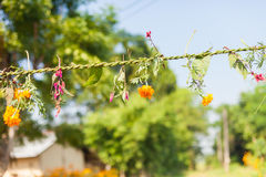 Flower and grass garlands for Tihar in Nepal Stock Photography
