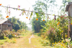Flower and grass garlands for Tihar in Nepal Royalty Free Stock Photos