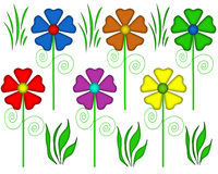 Flower and Grass Pattern Elements. Colorful flower and grass pattern illustration. Transparent PNG file is available Royalty Free Stock Images