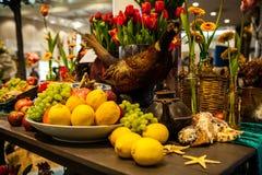 Flower greenhouse, floristic decor elements close-up. KEUKENHOF GARDEN, NETHERLANDS - MARCH 24: Flower greenhouse, floristic decor elements close-up. Keukenhof royalty free stock images