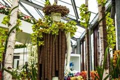 Flower greenhouse, floristic decor elements close-up. Keukenhof is the world's largest flower garden. KEUKENHOF GARDEN, NETHERLANDS - MARCH 24: Flower stock photography