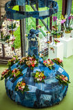 Flower greenhouse, floristic decor elements close-up. Keukenhof is the world's largest flower garden. KEUKENHOF GARDEN, NETHERLANDS - MARCH 24: Flower stock image