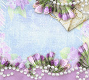 Flower greeting retro card with place for your text. royalty free stock photography