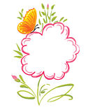 Flower greetings. Complimentary background with flower and butterfly vector illustration