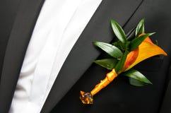 Flower on groom Stock Photos