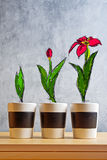 Flower Growth stages sketch. On Empty flower pots Stock Photos