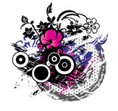 Flower Grunge Background. A Background illustration of flowers and vines with grunge design elemets Stock Image