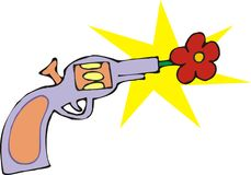 Flower gun. Art illustration: a flower appearing from a gun Royalty Free Stock Photography