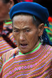 Flower H'mong minority woman in the Bac Ha market, Vietnam Royalty Free Stock Photography