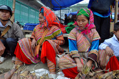 Flower H'mong minority woman in the Bac Ha market, Vietnam Royalty Free Stock Images