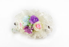 Flower hair pins on white Royalty Free Stock Images